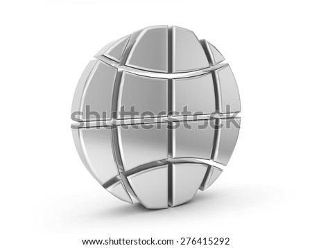 silver globe symbol on a white background. - stock photo