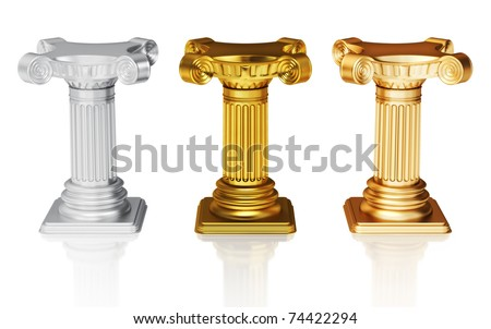 Silver,gold and bronze pedestals - stock photo