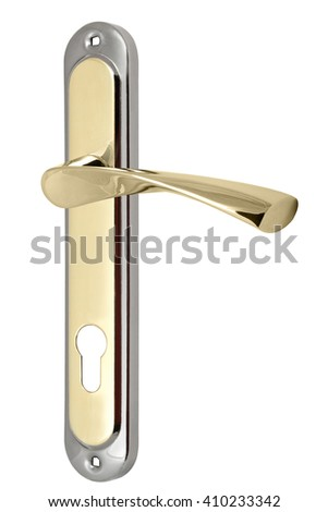 silver-gold door handle with a hole for the keyhole isolated on white background - stock photo
