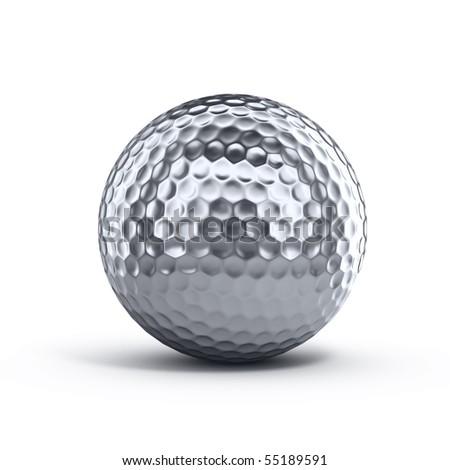 Silver golf ball - stock photo