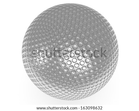 Silver golf ball isolated on white. 3d render. Sport, VIP concept. - stock photo