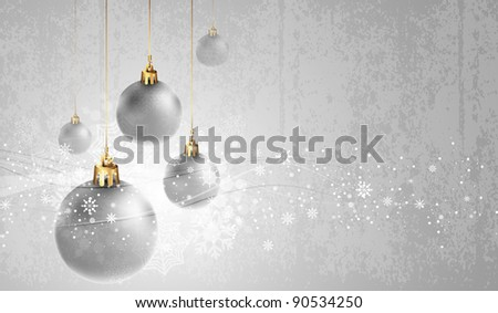 Silver Greeting Card with Christmas Globes