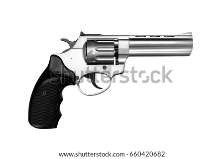 Silver gun pistol isolated on white background