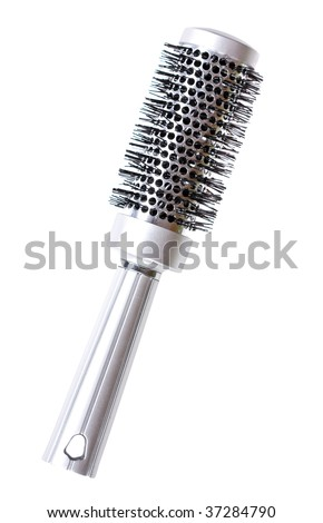 silver hairbrush on white background