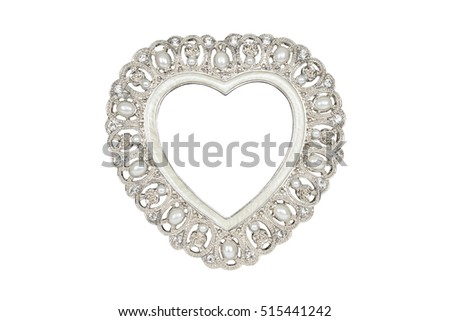 Silver Heart Picture Frame Isolated On Stock Photo & Image (Royalty ...