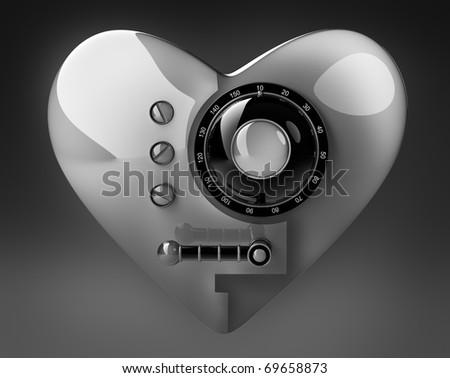 Silver heart safe isolated on black  background. 3D render