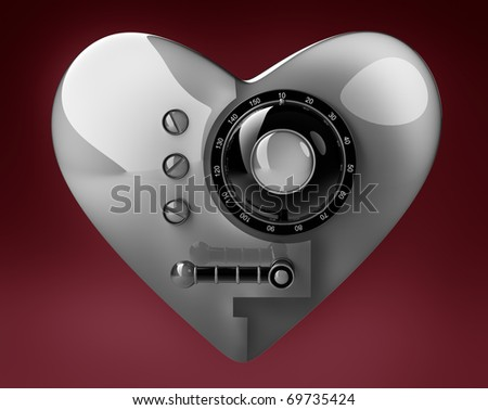 Silver heart safe isolated on red background. 3D render