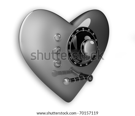 Silver heart safe isolated on white background. 3D render