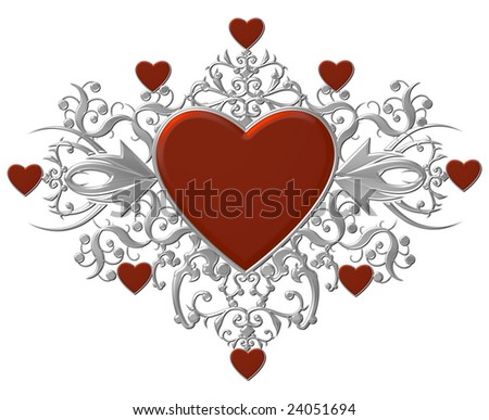 silver heart shield on white background
