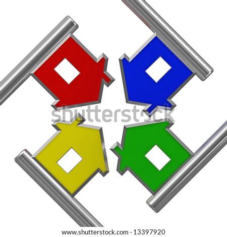 silver house key metaphor 02 - stock photo