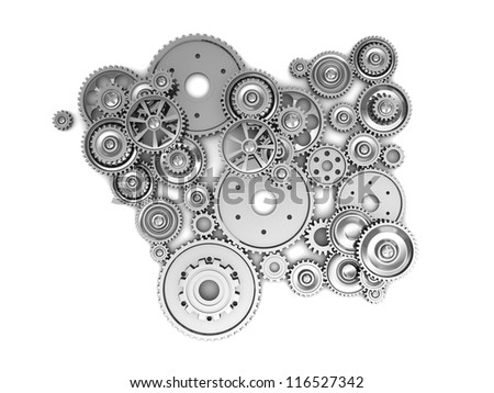 Silver industrial gears over white background - stock photo