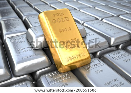 Silver ingot and  gold bullion. Finance illustration - stock photo