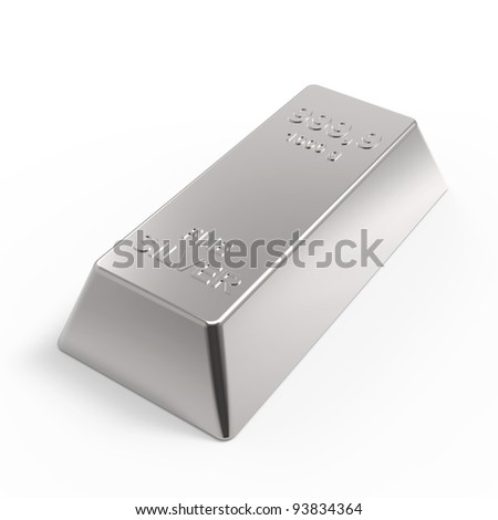 Silver ingot isolated on white. Computer generated 3D photo rendering. - stock photo