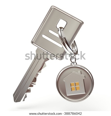 Silver key and round key chain with house isolated on a white background - stock photo