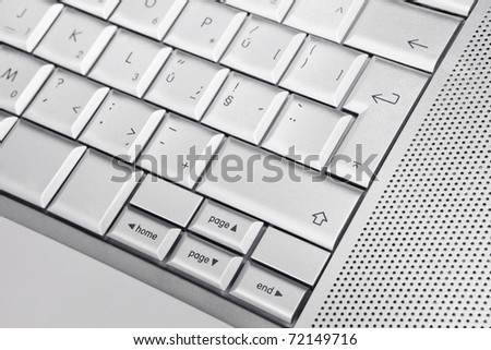 Silver keyboard detail background. Office concept. - stock photo