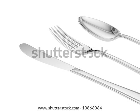 silver knife, fork, spoon isolated close up view