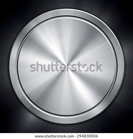 silver knob on metal plate - stock photo