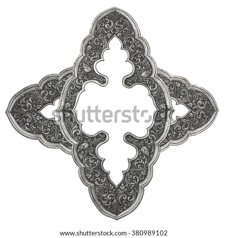 Silver lacquer Show flower art balance Global Crafts Thai artists. Place in Chiang Mai, Thailand. silver wall ,Thai traditional art in temple,Thailand. Decorative Art of Lanna Thai. Silver engraving. - stock photo
