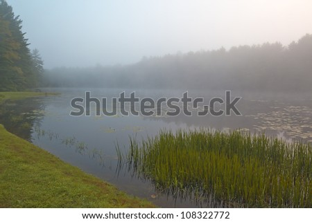 Silver Lake in Sullivan County of New York State in the early morning - stock photo