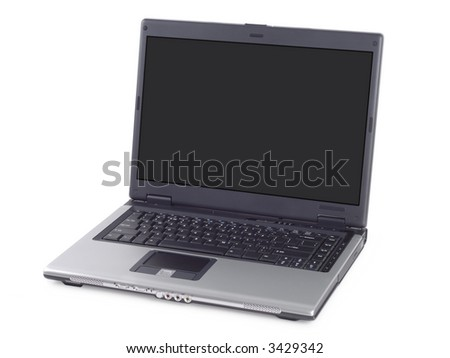 Silver laptop isolated over white background