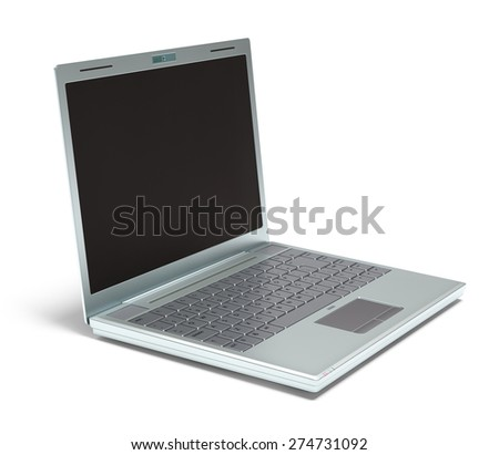Silver laptop on white background with clipping path included.