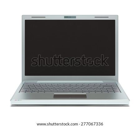Silver laptop on white background with clipping path included. - stock photo