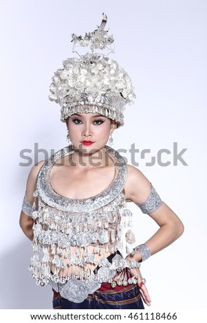 Silver Leaf Sparkling Crown as High Fashion Item on Princess model and silver necklace decorative, studio lighting on grey background, half body
