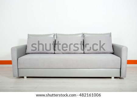 silver leather sofa on a white background