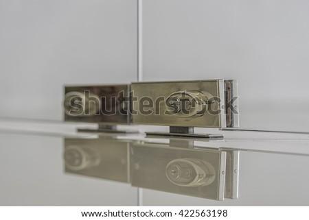 Silver Lock On Glass Door Mirror Stock Photo (Royalty Free ...