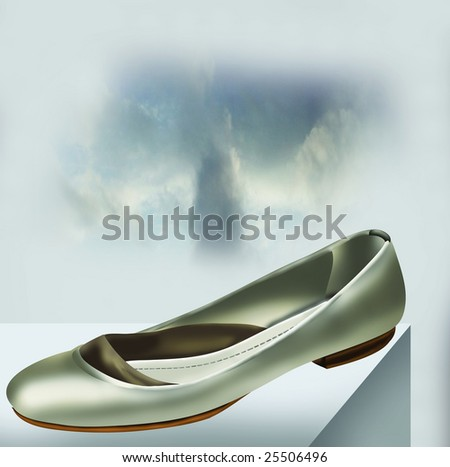 Silver Low Heels Shoe on Blue Sky background