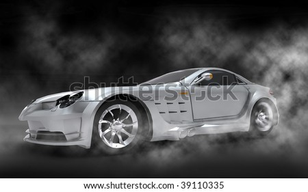 Silver luxury dream sports car / sportscar with spinning tire smoke filled cloudy studio - stock photo