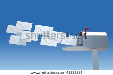 Silver mailbox receiving blank envelopes - 3d render