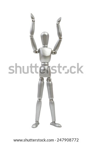 Silver mannequin human model with hands raised on white background