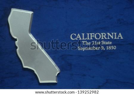 Silver Map of California - stock photo
