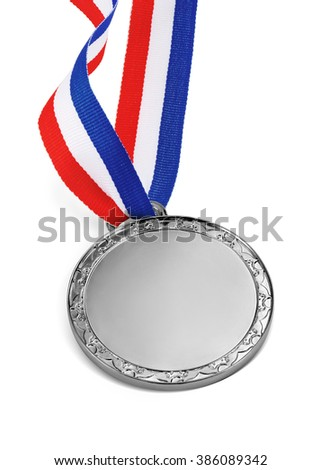 silver medal isolated on a white background