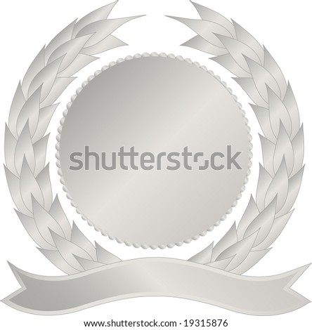 Silver medallion with wreath and banner - stock photo