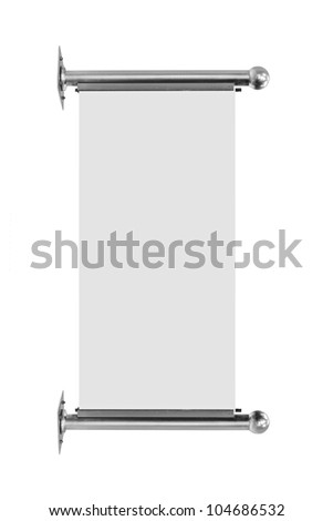 silver metal advertising banner isolated on white background