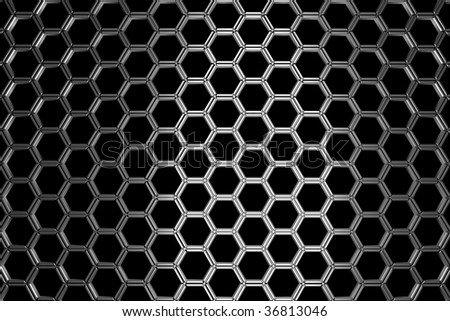 Silver metal background with hexagonal holes and light reflection