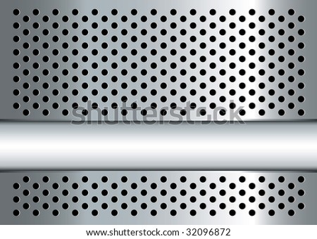 Silver metal background with perforated holes and copy space - stock photo