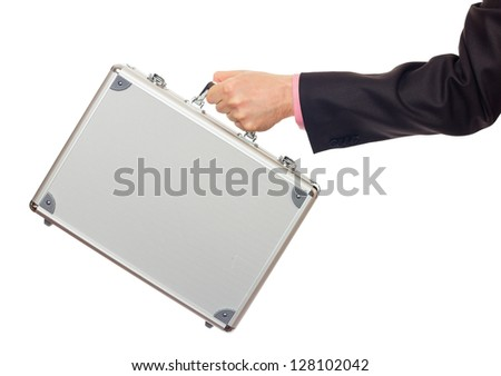 Silver metal briefcase in hand. Isolated on white