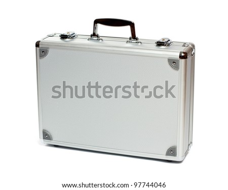 Silver metal briefcase isolated on white background - stock photo
