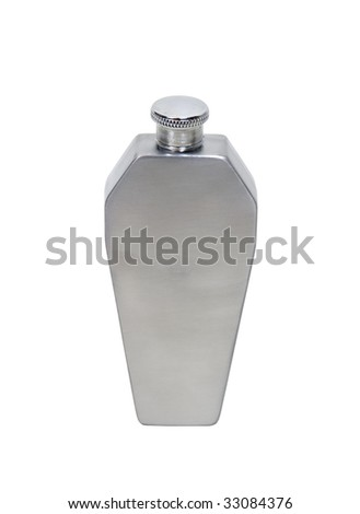 Silver metal coffin shaped flask to transport liquor easily - path included