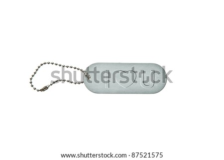 Silver metal key tag with word I love you - stock photo