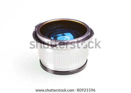 Silver metal lens fish eye isolated on white background. - stock photo