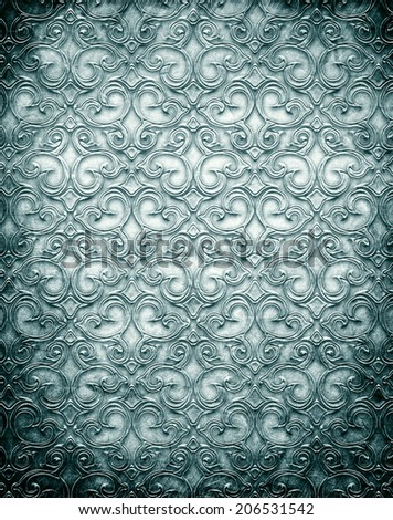Silver metal pattern on paper background (vintage collection) - stock photo