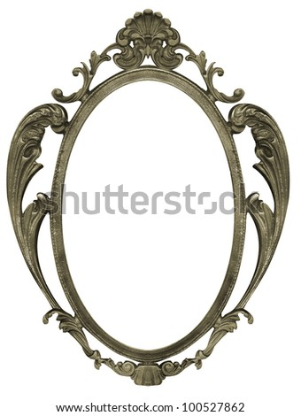 silver metal picture frame with isolated white center - stock photo