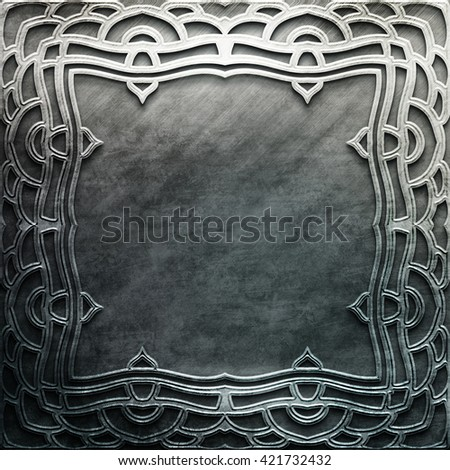 Silver metal plate with classic ornament. metal collection.  texture with metal carved pattern. Luxury metal design - stock photo