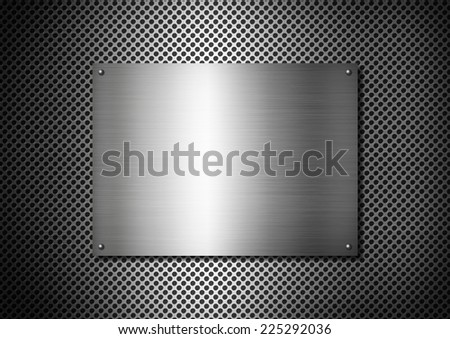 Silver Metal texture plate with screws on a aluminium grid background - stock photo