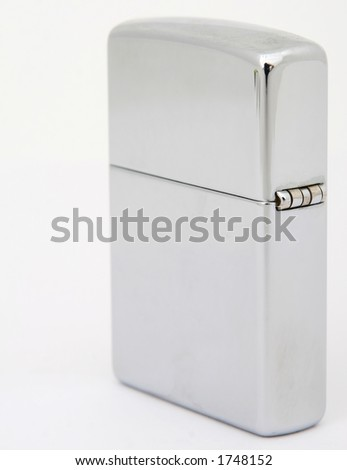 Silver metal zippo lighter for cigars close up, macro, copy space, isolated on white - stock photo