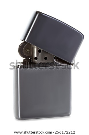 Silver metal zippo lighter isolated on white - stock photo